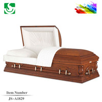 Polished religious American simple paulownia JS-A1829 casket decorations