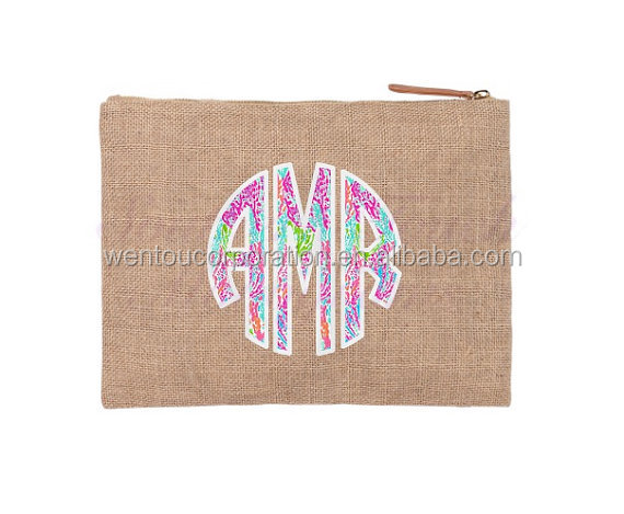 Monogrammed Blank Lilly Pulitzer Burlap Cosmetic Bag