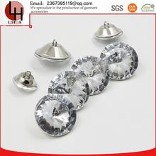 High-end boutique sofa round shape metal and Plexi glass crystal rhinestone wedding buttons