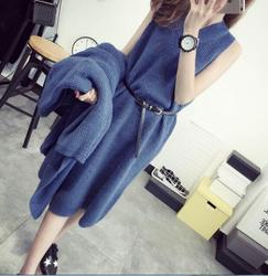 up-0555r Women winter cardigan dress clothing set fashion sweater dresses