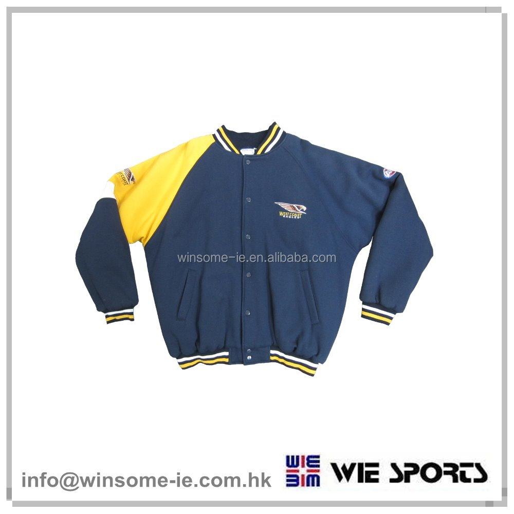 Popular Mens 100% Polyester buttoned up long sleeve baseball jacket