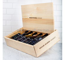 6 bottles pine wood packaging box flat top wooden wine box