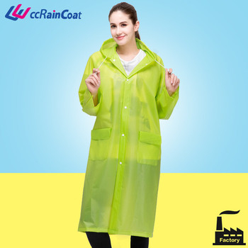green long waterproof raincoat with hood in eco material good quality