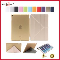Golden PU case for iPad 5 smart wake/sleep cover flip case function case in factory outlet