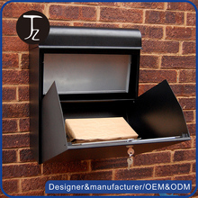 Casting Craftsman.Customized metal wall mounted weatherproof black parcel box mailbox /letter box