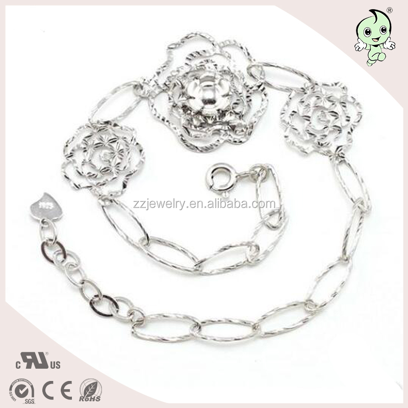 The Best Gift To Mother And Girlfriend Rose Flower Design 925 Sterling silver Bracelet