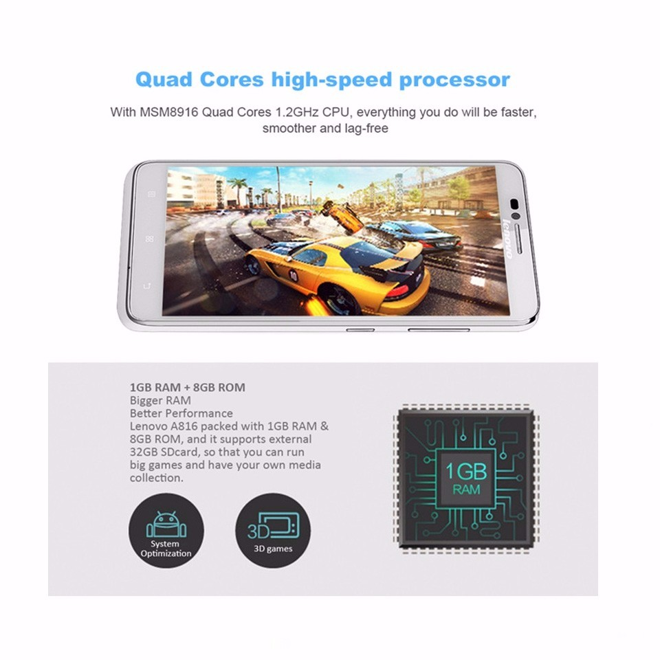 Original Lenovo A816 Qualcomm Quad Core FDD LTE 4G LTE smart Phone 5.5 inch IPS 1GB RAM 8GB