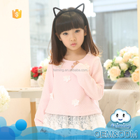 Fashion baby products new model long sleeve flower girl lace children clothing plain guangzhou kids t-shirt