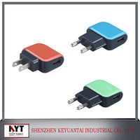 EU, US 2 PIN 5V 1A USB adapter for smart phone with USB or DC cable