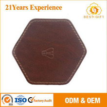 Custom Leather Coaster desk deco cup glass mat pad with coaster holder