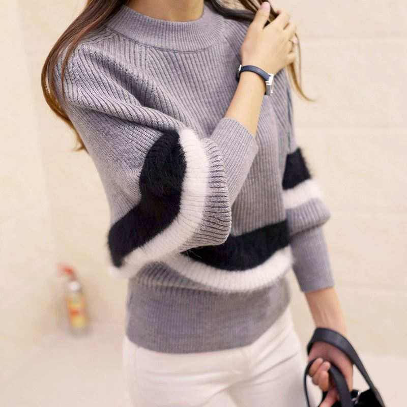Autumn Winter Women Fashion Turtleneck Sweater 2017 New Striped Hedging Warm Bat Sleeve Casual Sweaters Knit Pullovers