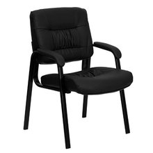 Black Leather Guest/Reception Chair with Black Frame Finish