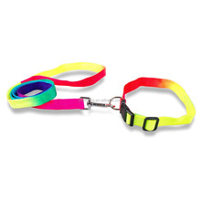Products for Dogs Rainbow Color Nylon Collar&Leash Set For Small Puppy Pet Dog Adjustable