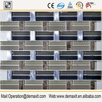 Brick Black Shell Mosaic Tile Glass and Stone Mosaic Mother of Pearl Tile for Bathroom Decoration