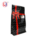 Portable Handle Resealable Plastic Black Ziplock Bags With Square Bottom