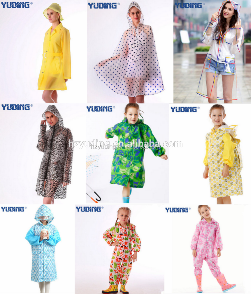 High Quality Transparent EVA Waterproof Raincoat Outdoor Hooded Ladies Long Raincoats