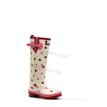 Supreme quality long rubber wellington boots women,fashion gumboot