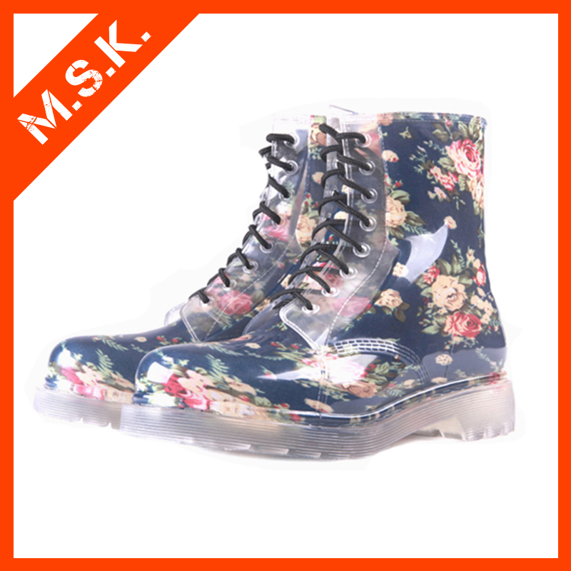 Low price attractive waterproof latest design rubber shoes pvc women rain boots
