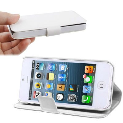 2-angle Viewing Ultra Slim Flip Leather Case with Holder for iPhone 5 (White)