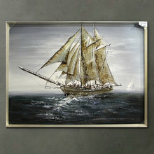 Handmade oil painting boat paintins art 3d oil painting on canvas