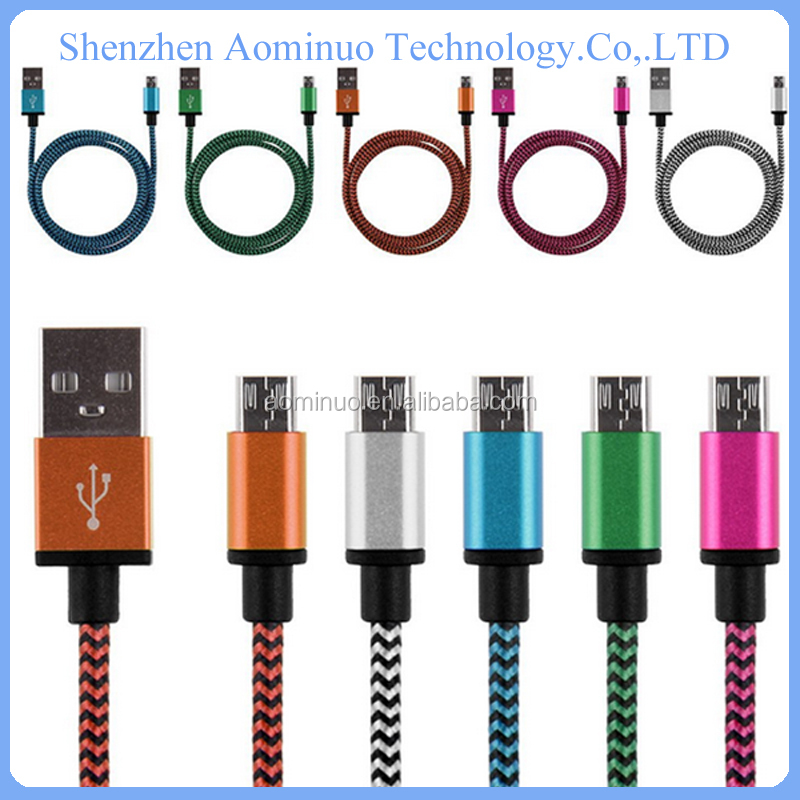 Braided&metal case Micro USB Cable Mobile Phone Charging Cable for Samsung galaxy S3 S4 note2 HTC