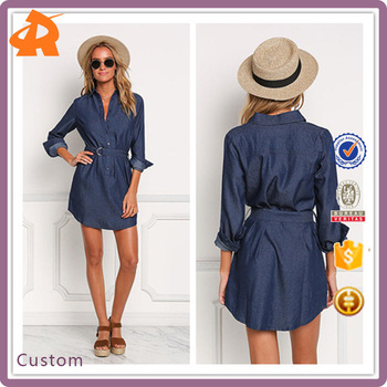 China Products Small Quanity Dark Denim Cinched Pocket Dress