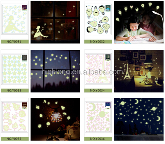 Spaceship Moon Star Fluorescent Sticker For Living Room Removable Kids Wall Decals Sticker Waterproof Glow In The Dark