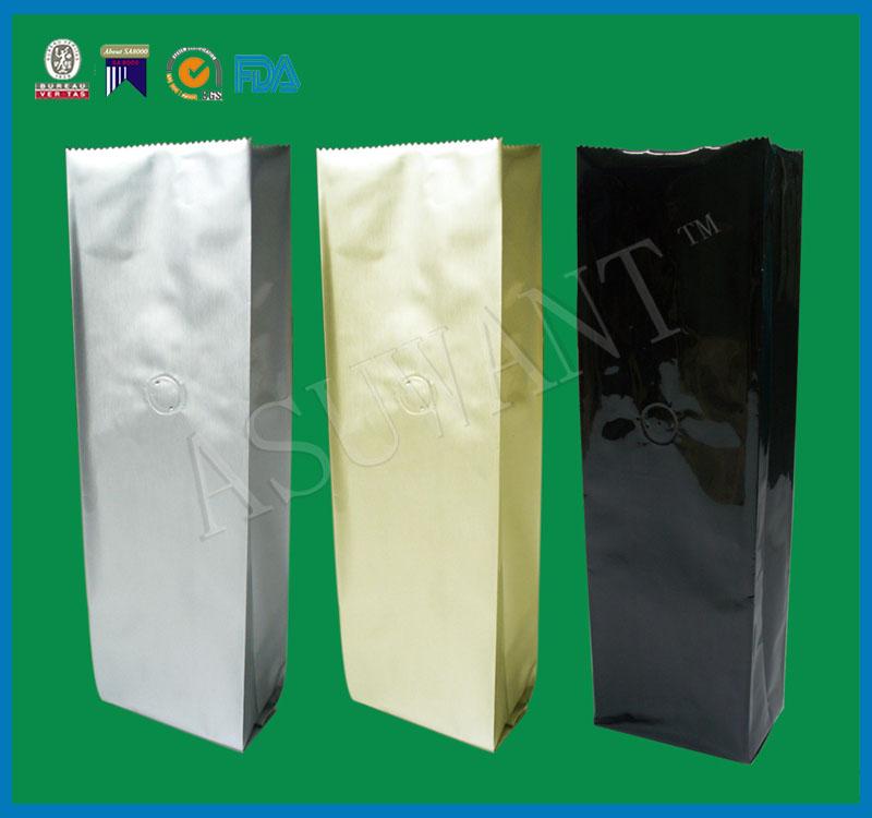 Heat sealing food grade Auminum foil coffee packaging plastic kraft paper bag with valve