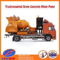 Linuo C5 diesel generator self loading concrete mixer truck with pump
