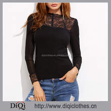 New Arrival Guangzhou Factory Price stylish ladies Black Contrast Lace Embroidered Mesh T-shirt