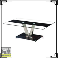 living room centre cheap V shape tempered glass coffee table