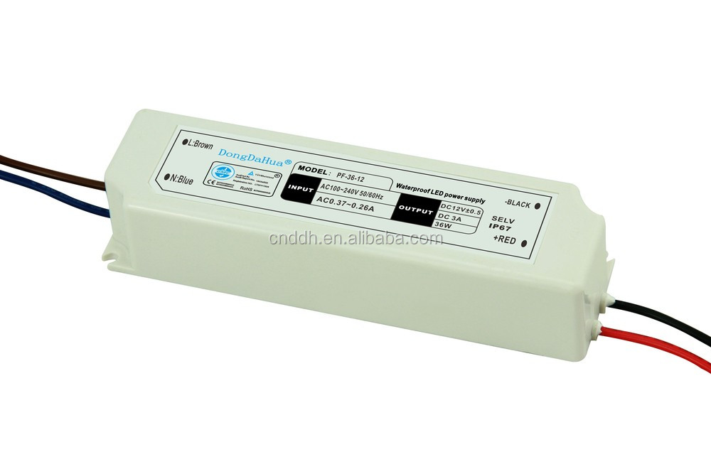 plastic case Factory outlet small size IP67 led driver waterproof 36w 12v swithching power supply