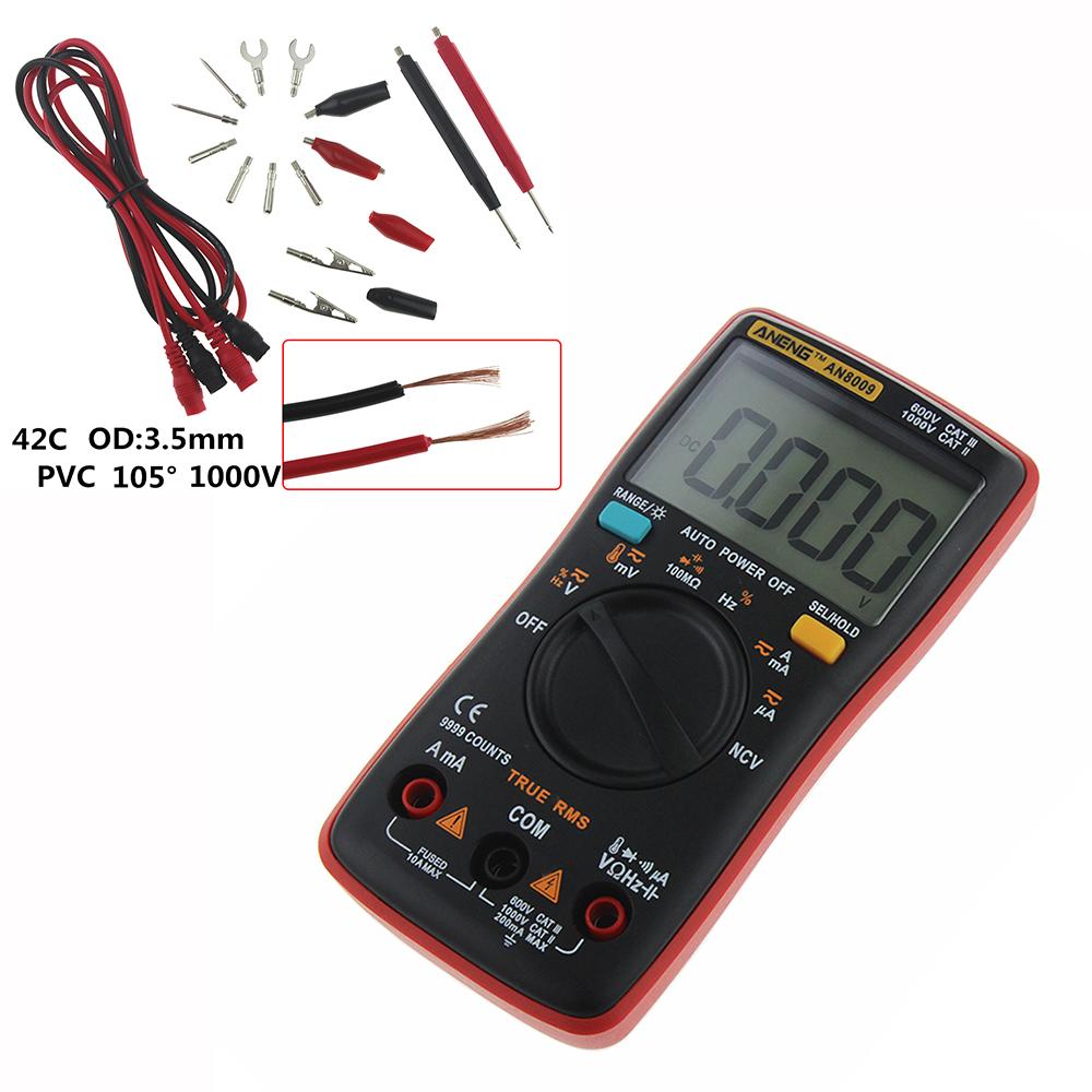 AN8009 Digitalmultimeter Auto Range Amperemeter Ohmmeter Spannung Tester Rot☀