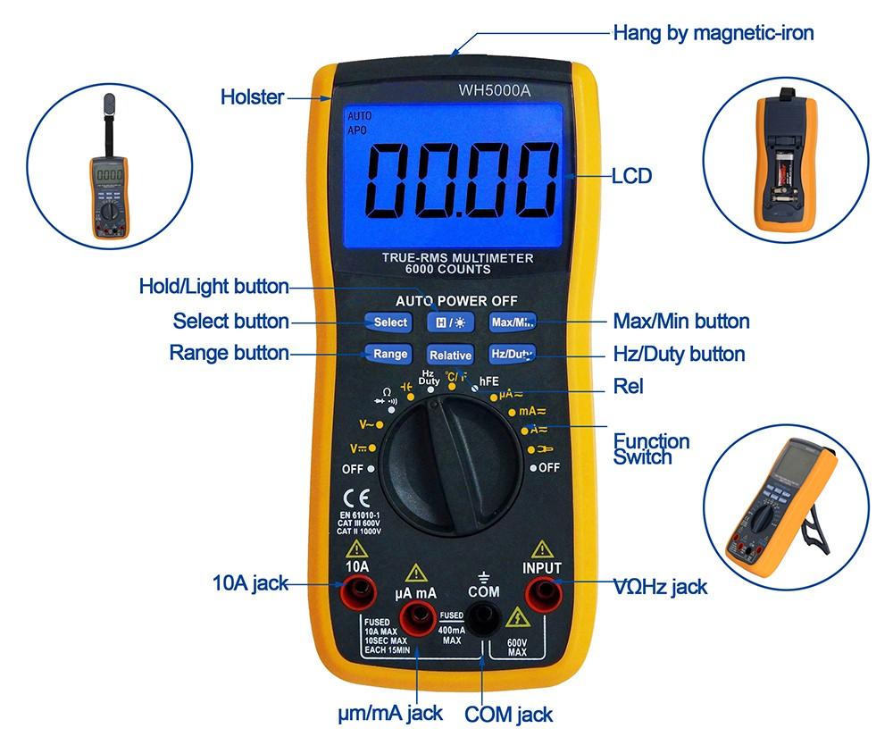 Digital multimeter with 600A current testing clamp WH5000A