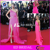 NS416 Unique One Shoulder Ruched Hot Pink Chiffon Sexy Backless Celebrity Red Carpet Dresses