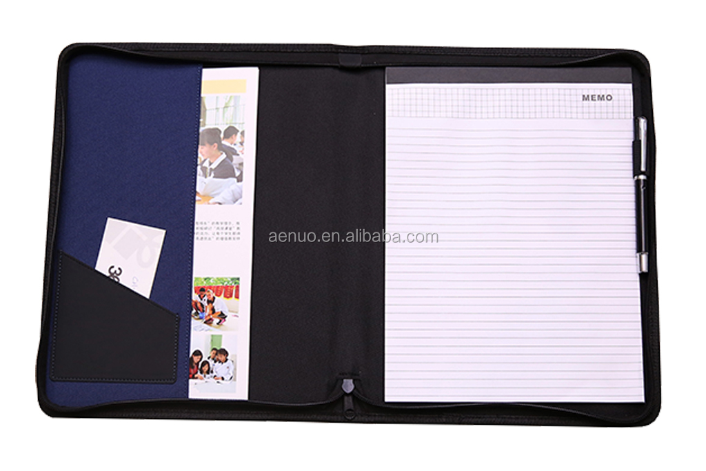 Hot office zipper closure A4 size file holder fabric presentation file holder