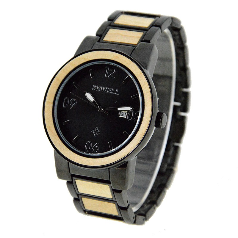 New Products Bamboo Wooden & Stainless Steel Watches Men Wrist Wood Watches In Alibaba China