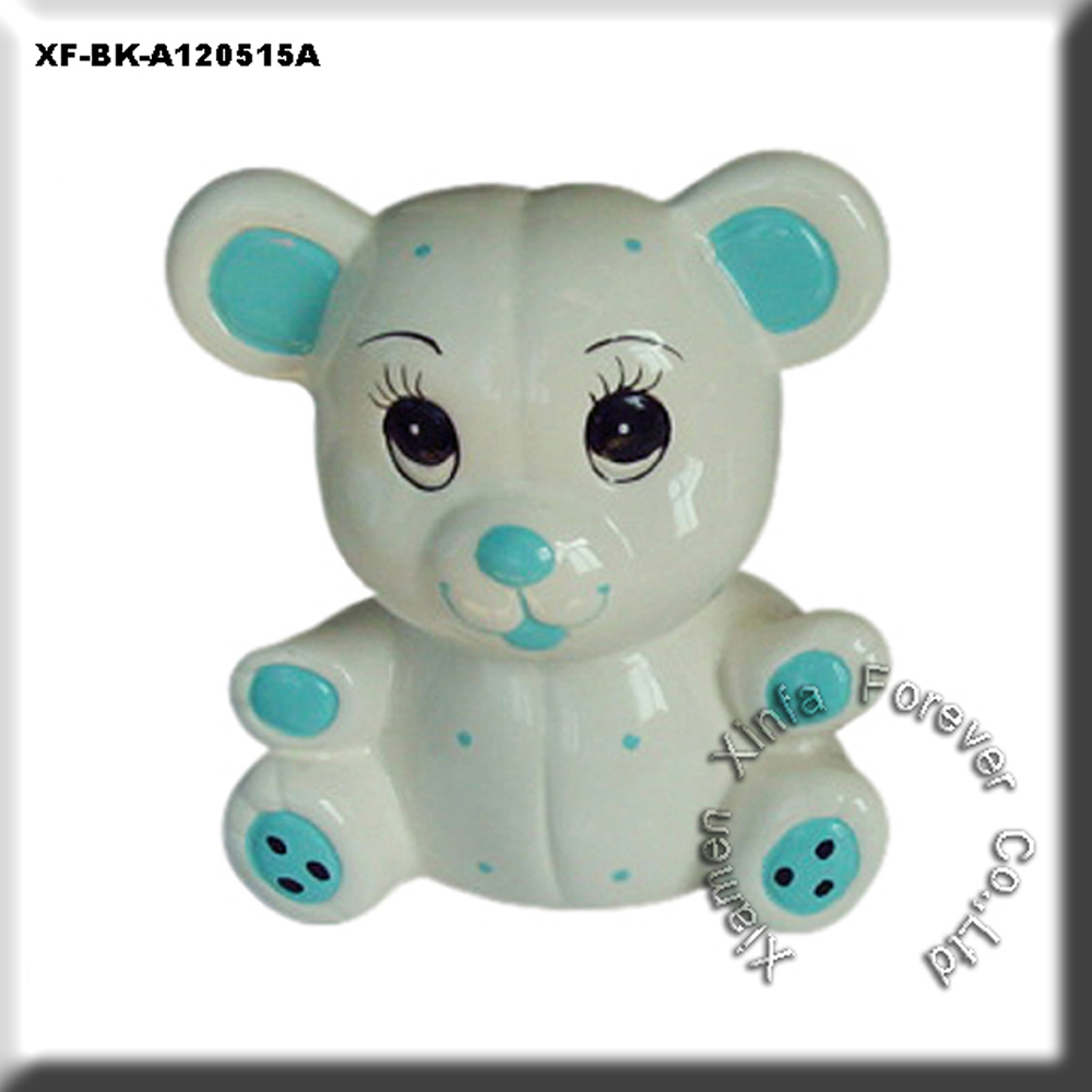 unpainted hobby ceramics bear coin saving bank