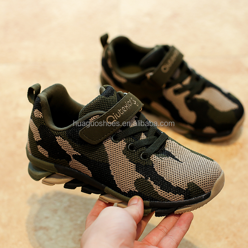 Fashion design lace-up kids running Camouflage shoes