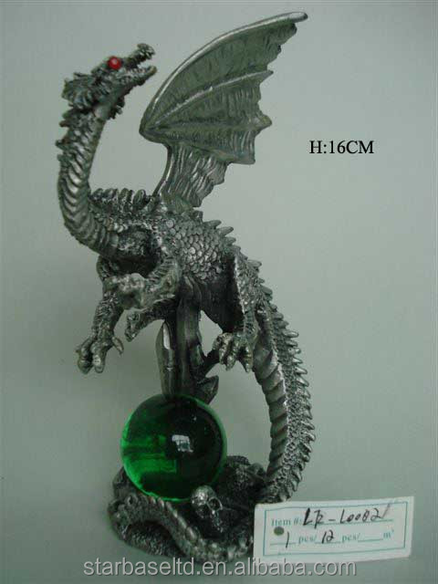 Custom high 7.5cm exquisite dragon figurine pewter famous chinese sculptures