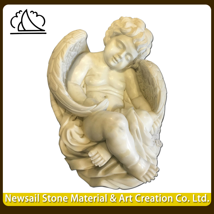 Modern Stone Carved Indoor Figure Baby Boy Angel Statue