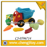 PE plastic kids toy 7pcs inflatable plastic toy fruits and vegetables with beach cart