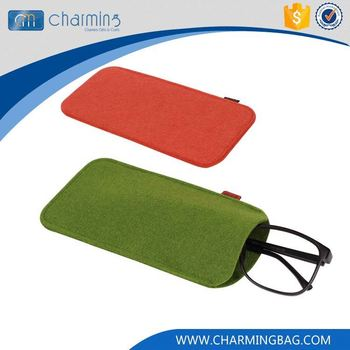 Newest selling excellent quality different color felt reading glasses bag