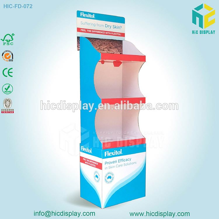 Custom Printing Supermarket Advertising POP Up Cardboard Display Stand, Cosmetic Display Unit