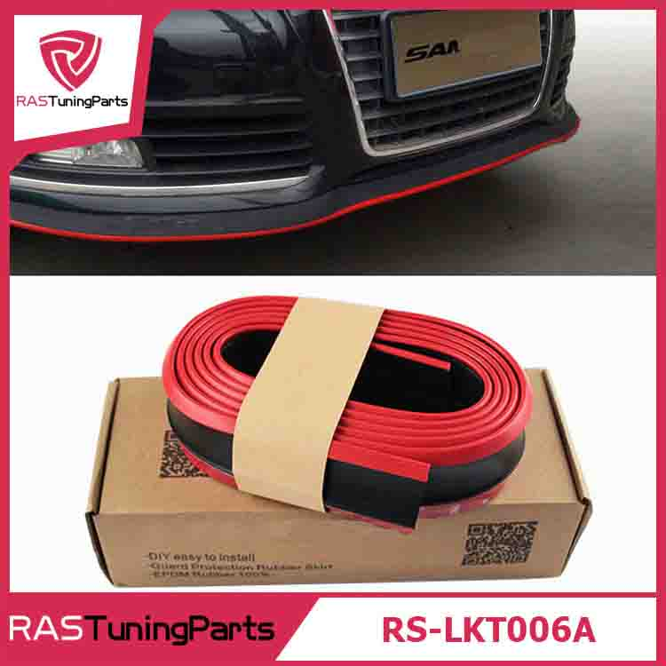 New Design 2.5M Double Color Black And Red Rubber Lip Skirt Protector Car Scratch Resistant Rubber Bumpers Decorate