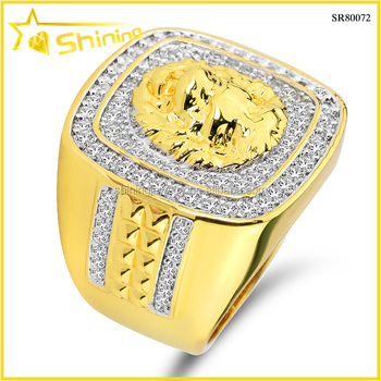 High quality prong rhodium mens 925 silver hiphop gold finger ring with CZ made in China