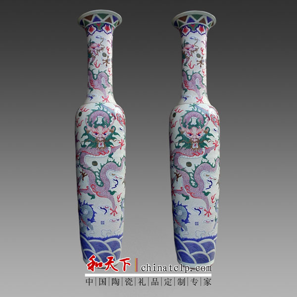 2016 new blue large dragon Chinese vases