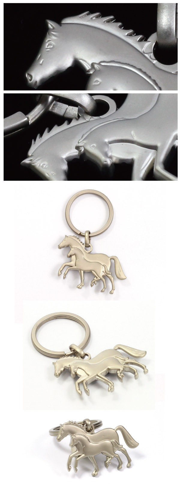 Quality 3D Metal Embossed Horse Shaped Keychain