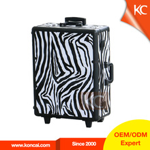 Hot sale make up station Zebra PVC pattern trolley train case with lights and wheels