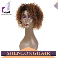 Two Tone Color 1B/30 Wig, Short Afro Kinky Wig, 100% Virgin Human Hair Short Ombre Wig